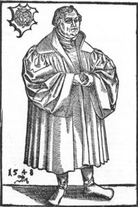 Martin Luther - wood engraving by Lukas Kranach, 1548